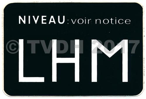 Sticker niveau voorraadvat LHM