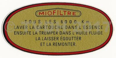 - Sticker luchtfilter tot 1965