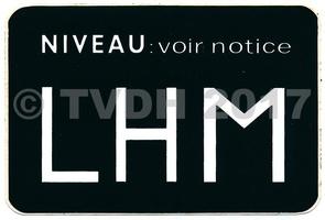 - Sticker niveau voorraadvat LHM